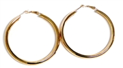 1pr solid earring hoops gold plated 40mm width