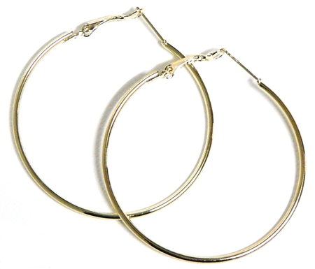 1pr earring hoops gold plated 60mm width