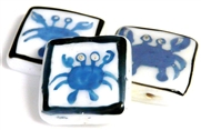 1pc porcelain blue crab square