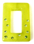 1pc resin rectangle with rhinestones green 35x25mm