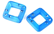 2pc resin square 20mm blue with rhienstones