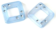 2pc resin square 20mm sky blue with rhinestones