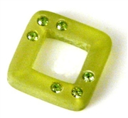 2pc resin square 20mm green with rhinestones