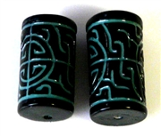 2pc resin tubes oriental design blue black 20x10mm