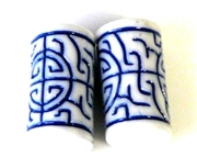 2pc resin tubes oriental design blue white 20x10mm