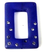 1pc resin rectangle with rhinestones purple 35x25mm
