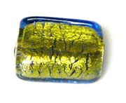 1pc venetian glass square montana gold lined