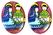 1pc 25x18mm glass cabochon nativity scene