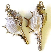 1pc spikey shell charm small gold plated