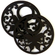 1pc wooden butterfly round pendant jet black