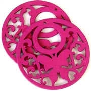 1pc wooden butterfly round pendant fuchsia pink