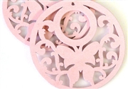 1pc wooden butterfly round pendant pink