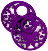 1pc wooden butterfly round pendant purple