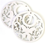1pc wooden butterfly round pendant white