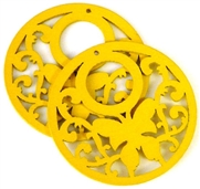 1pc wooden butterfly round pendant yellow