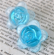 1pc glass flower 20mm aquamarine blue