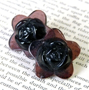2pc glass flower 20mm burgundy