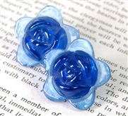 2pc glass flower 20mm cobalt blue