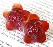 2pc glass flower 20mm red