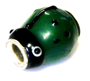 1pc large hole glass bead green ladybug/silver