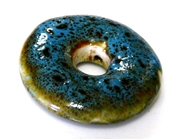 1pc porcelaine raku donut blue 25mm