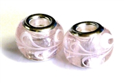 2pc large pandora style bead silver plated pink swirls