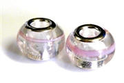 2pc large pandora style bead silver plated pink lines