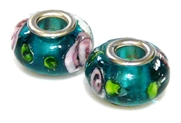 2pc large pandora style bead teal roses