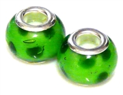 2pc large pandora style bead lime spots