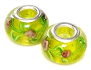 2pc large pandora style bead light green roses