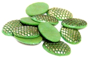 3pc glass cabochon green eggshells oval