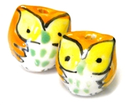 2pc porcelaine owl beads orange