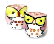 2pc porcelaine owl beads pink