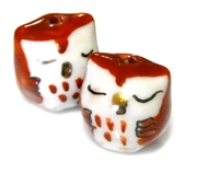2pc porcelaine owl beads red
