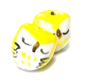 2pc porcelaine owl beads yellow