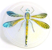1pc czech glass button matte white ab dragonfly 42mm