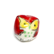 2pc porcelaine owl beads light red