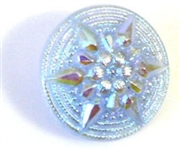 1pc czech glass button light sapphire ab star