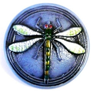 1pc czech glass button 26mm sapphire dragonfly
