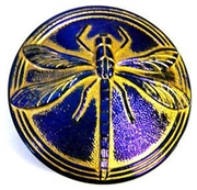 1pc czech glass button metallic blue gold dragonfly 42mm