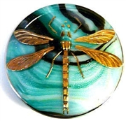 1pc czech glass button verigated green dragonfly 42mm