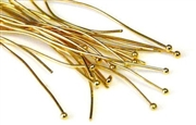 50pc gold plated headpins w/ball end 50mm