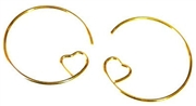 10pr earring hoops w/loveheart side gold plated