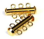 1pc Magnetic slide clasp gold plated 3 strand