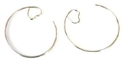 10pr earring hoops w/loveheart side silver plated
