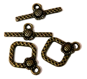 2pc diamond flower toggle clasp antique brass 20x15mm