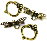 3pc antique brass dragonfly toggle clasp