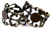 1pc antique brass filigree ring base w/6mm pad