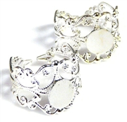 2pc silver plated filigree ring base w/pad