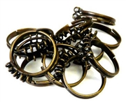1pc antique brass ring base w/10 loop